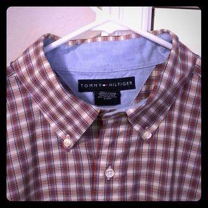 Tommy Hilfiger short sleeve button down shirt.
